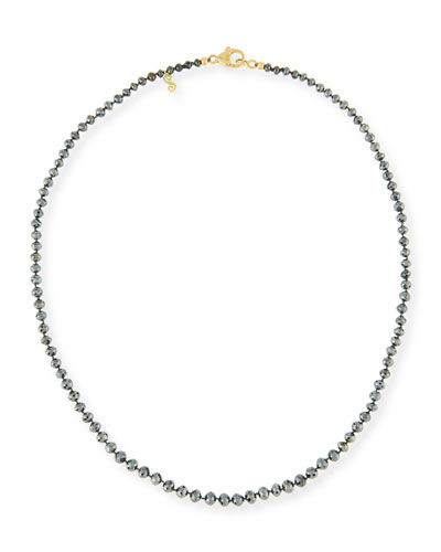 Faceted Round Black Diamond Necklace, 18