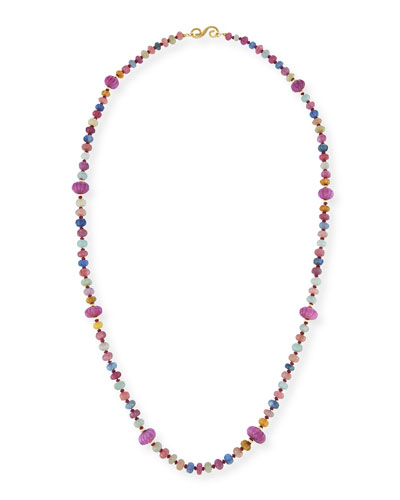 Multicolor Melon-Carved Sapphire & Ruby Necklace