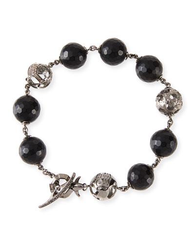 18K Black Gold Faceted Onyx Bracelet with Diamonds