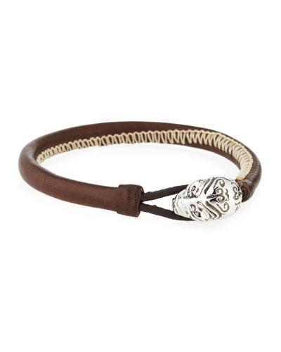 Kiri Leather Bracelet w/ 18k White Gold Closure & Red Sapphires