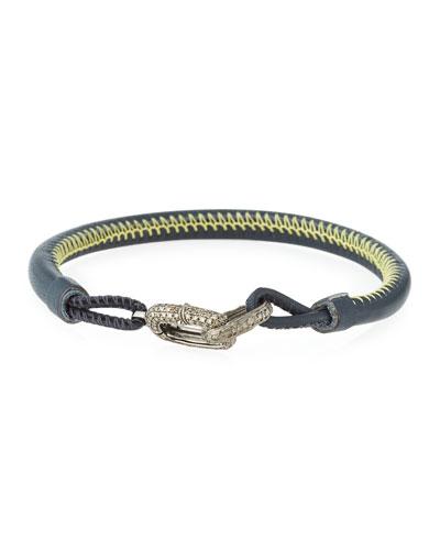 Kiri Leather Strap Bracelet with Diamond Links, Elephant/Yellow