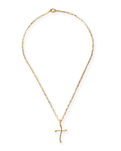 Piripono 18K Yellow Gold Cross Necklace with Diamonds