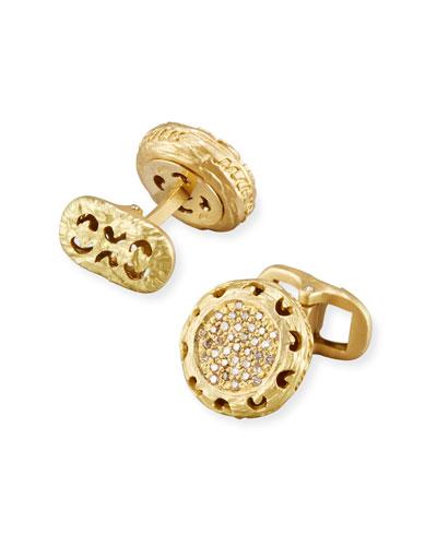 Warrior Round 18K Gold & Diamond Cufflinks