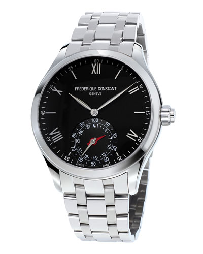Gents 42mm Horological Smartwatch w/Bracelet Strap, Silver/Black