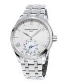 Gents Horological Smartwatch w/Bracelet Strap, Silver/White