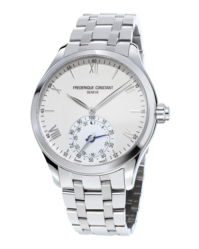 Gents Horological Smartwatch w/Bracelet Strap, Silver/White