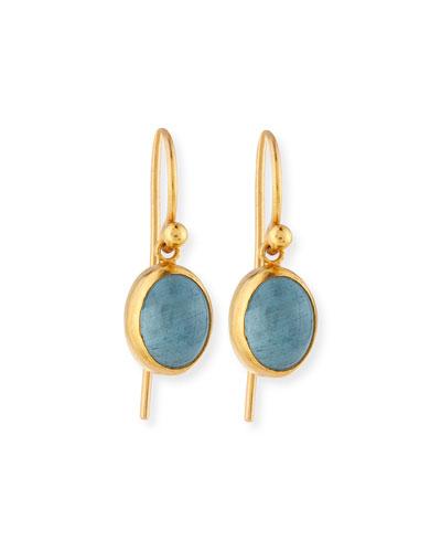 24K Gold Amulet Hue Aquamarine Cabochon Drop Earrings