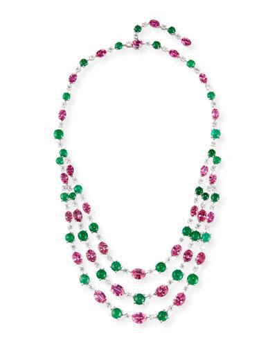 Three-Strand 18K White Gold Pink Topaz & Emerald Necklace with Diamonds