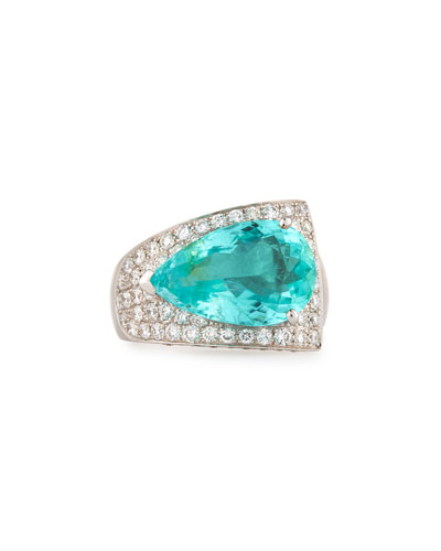 18K White Gold East-West Paraiba Ring with Diamonds, Size 7.25