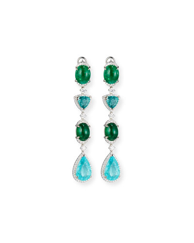 18K White Gold Emerald & Paraiba Earrings with Diamonds