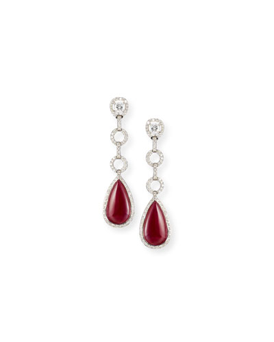 18K White Gold Ruby Drop Earrings with Diamonds