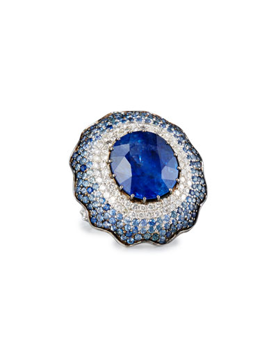 18K White Gold Round Blue Sapphire Ring with Diamonds