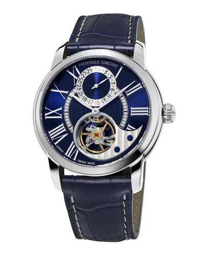 42mm Heart Beat Manufacture Watch w/Alligator Strap, Navy Blue/Blue