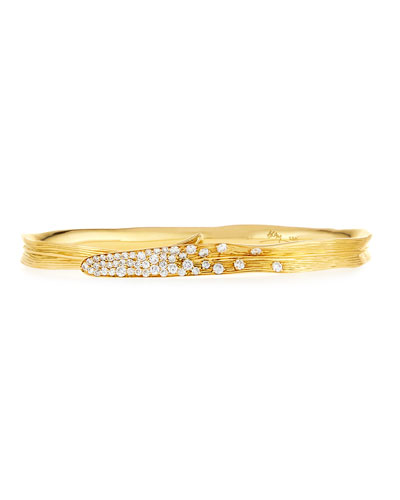 Palm 18K Gold Pavé Diamond Hinged Bangle
