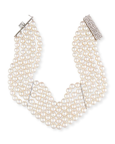 18K Five-Strand Akoya Pearl Choker Necklace with Diamonds