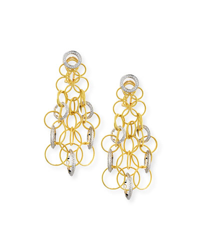 18K Gold Hawaii Circle Earrings with Diamonds