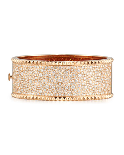 Rock and Diamond 18K Rose Gold Bangle Bracelet