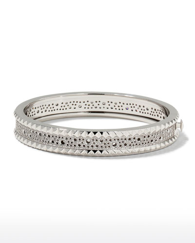 Rock and Diamond Slim 18K White Gold Bangle Bracelet