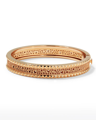 Rock and Diamond Slim 18K Rose Gold Bangle, 1.49 tdcw