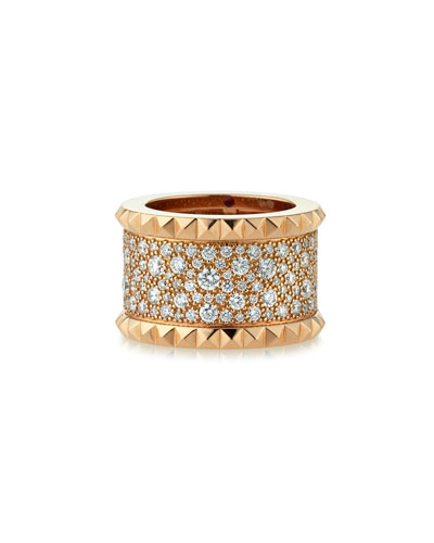 Rock & Diamond 18K Yellow Gold Ring, Size 6.5