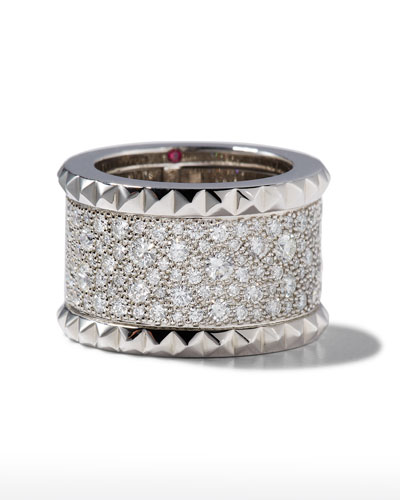 ROBERTO COIN ROCK & DIAMONDS 18K White Gold Ring, Size 6.5