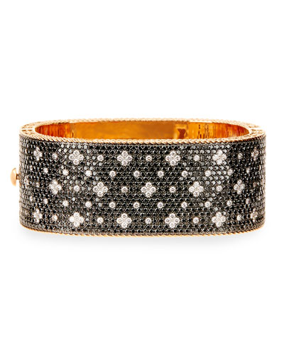 18K Rose Gold Black & White Diamond Bangle