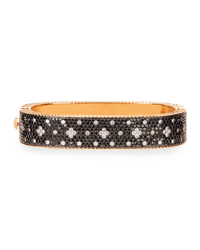 Rock and Diamond 18K Rose Gold & Black Diamond Bangle