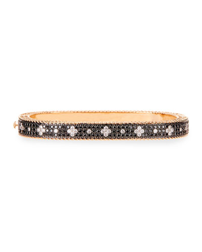 Rock and Diamond Slim 18K Rose Gold & Black Diamond Bangle