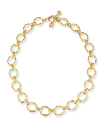 19K Gold Smooth Link Necklace, 17