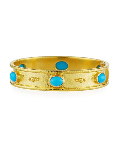 19K Gold Turquoise Cabochon Bangle