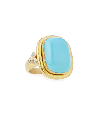 19K Gold Cushion-Cut Turquoise Ring with Diamonds, Size 6.5