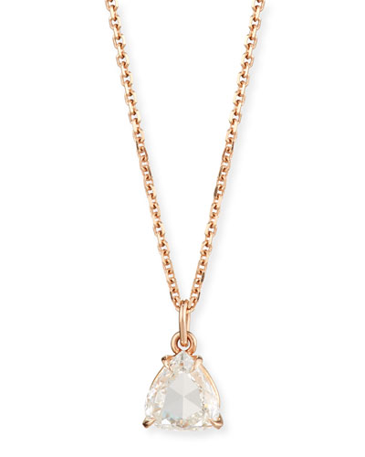 Rose-Cut Diamond Pendant Necklace in 18K Rose Gold, 0.81ct