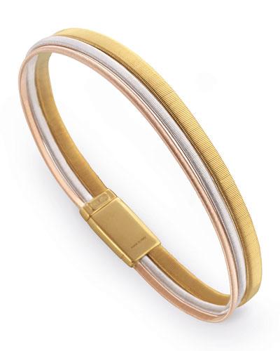 Masai Three-Row 18K Yellow, Rose & White Gold Bracelet