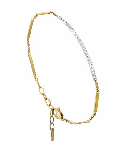 Goa 18K Hand-Engraved Gold Diamond Bar Bracelet in White/Gold