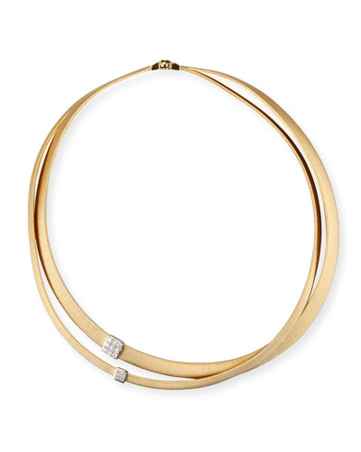 Masai 18K Yellow Gold Two-Strand Necklace with Diamond Stations