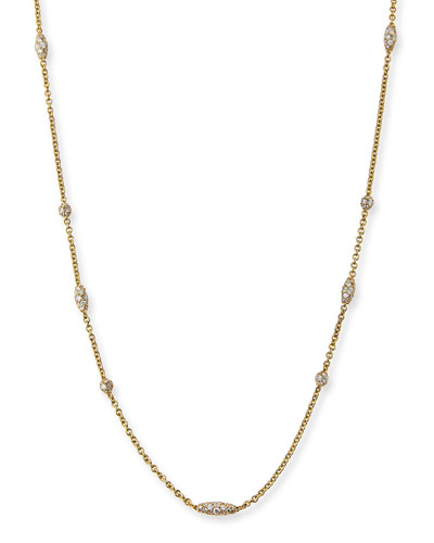 Pipette 18K Diamond Station Necklace, 36
