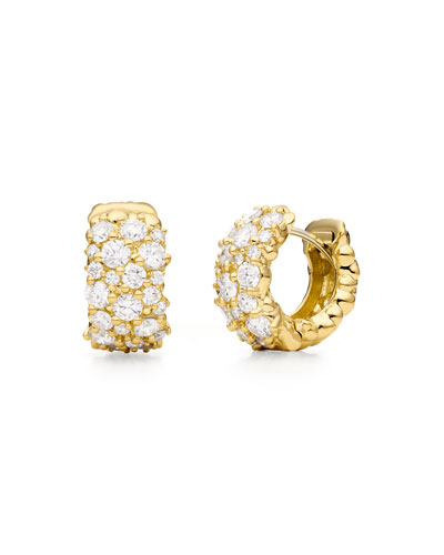 18K Gold Large Diamond Confetti Huggie Earrings