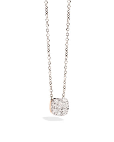 POMELLATO Grande Nudo 18K White & Rose Gold Diamond Pendant Necklace