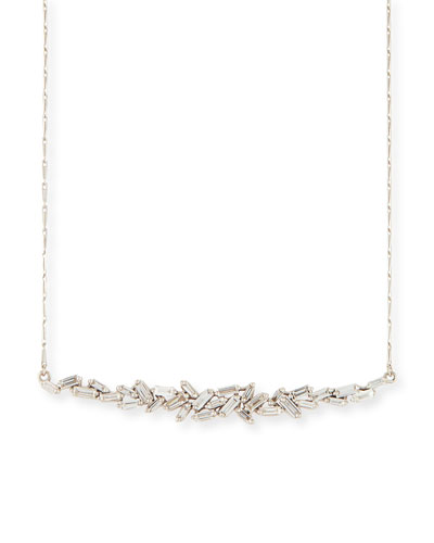 18K White Gold Diamond Baguette Necklace, 1.0 tdcw