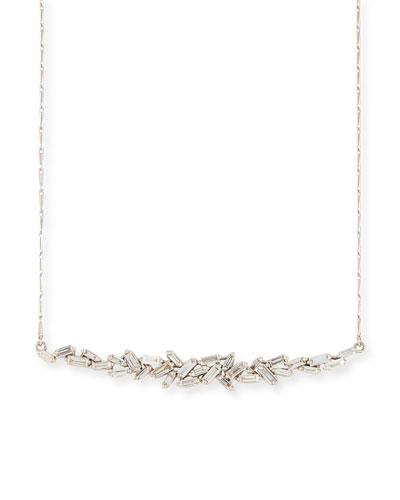 18K White Gold Diamond Baguette Necklace, 1.0 tdcw