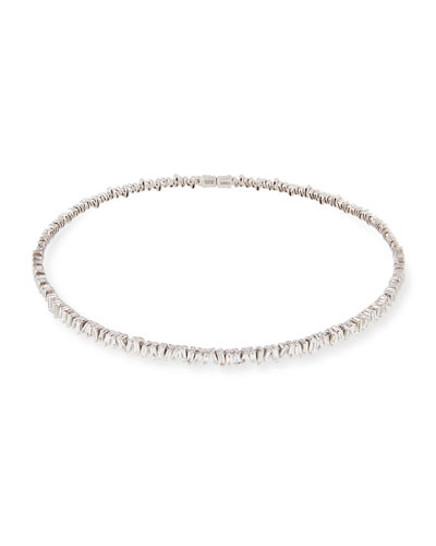 18K White Gold Diamond Baguette Choker Necklace, 3.0 tdcw