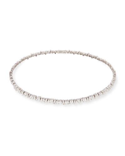 18K White Gold Diamond Baguette Choker Necklace, 3.0 tdcw