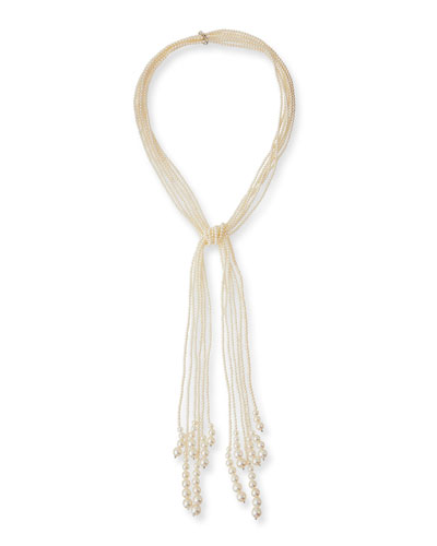 Long Six-Strand Pearl Lariat Necklace