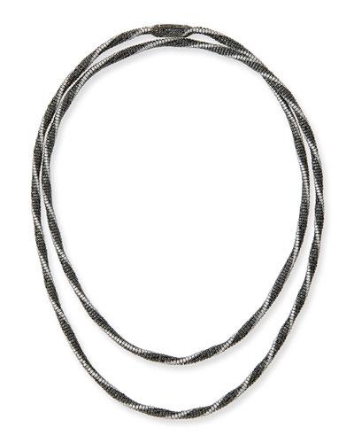 Monnalisa 18K White Gold Necklace with Black & White Diamonds, 49.95 tdcw