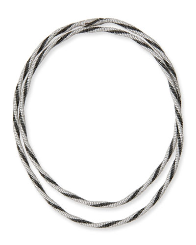 Monnalisa 18K White Gold Necklace with Black & White Diamonds, 61.11 tdcw