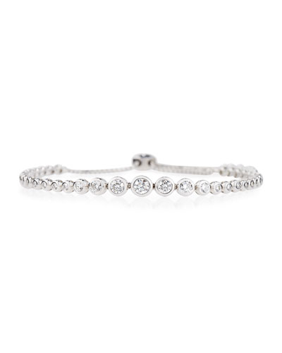 18K White Gold Graduated Diamond Bezel Bracelet