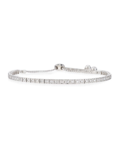 18K White Gold Square Diamond Bracelet