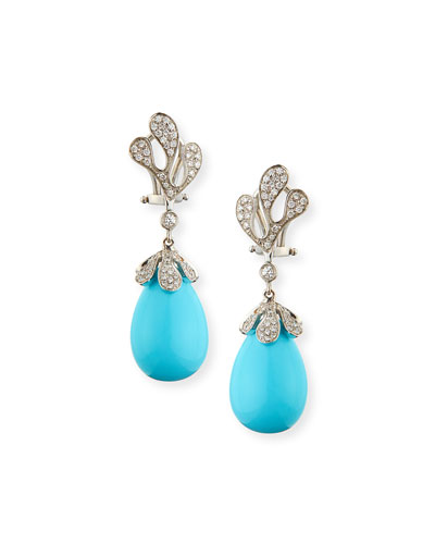Sea Leaf Turquoise Cabochon Earrings with Diamonds