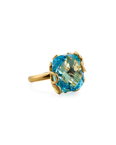 Sea Leaf 18K Gold & Blue Topaz Ring, Size 6