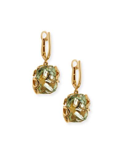 Sea Leaf 18K Gold & Green Amethyst Earrings